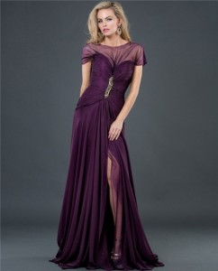 Formal-A-Line-Long-Purple-Chiffon-Slit-Evening-Dress-With-Sleeve-Low-Back